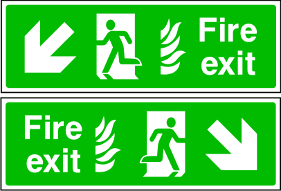 Double sided fire exit sign. Arrow down to the side. Photoluminescent.