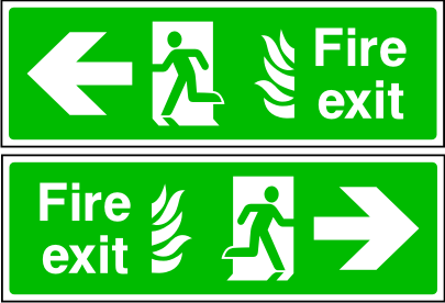 Double sided fire exit sign. Arrow to the side. Photoluminescent.