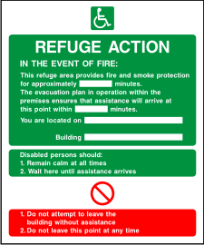 Refuge action sign.