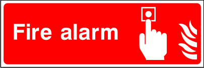 Double sided hanging fire alarm point sign.