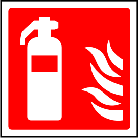 Fire extinguisher point sign.