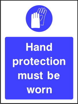 Hand protection must be worn sign.