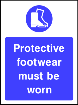Protective foot wear must be worn sign.