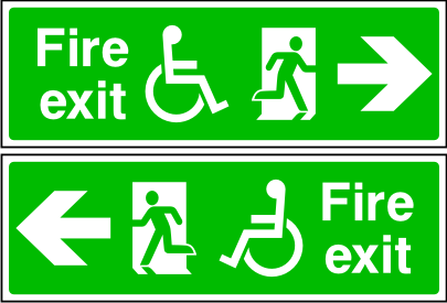 Double sided disabled fire exit sign. Arrow to the side. Photoluminescent.