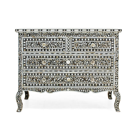 Black Mother Of Pearl Inlay Chest Of Drawers -