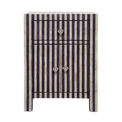 Straigh Line pattern bone Inlay BedSide -