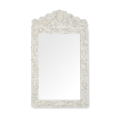 white mother of pearl inlay mirror -