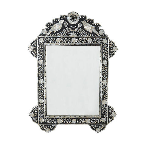 Mother Of Pearl Inlay Black Bird Mirror -