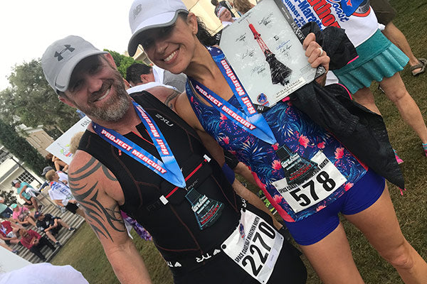Don't Let the Race Define You Karen Monda Tri Sirena Luminary 2019 Sapphire Summer UPF50 Tank Top cooling sleeves race finish marathon medal florida