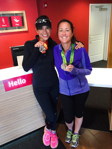 Karen Monda and friend medals