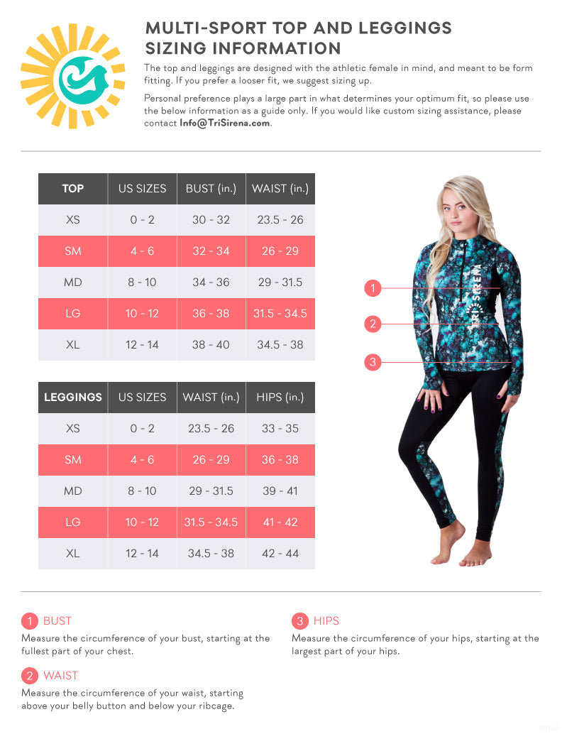 Women's Multi-Sport Top and Cooling Leggings Size Chart