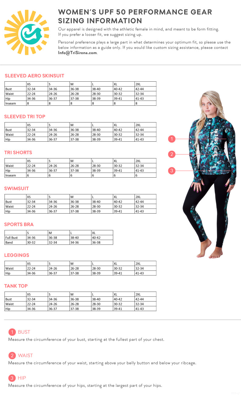 Women's UPF 50 Triathlon, Running, Swimming, Yoga Size Chart