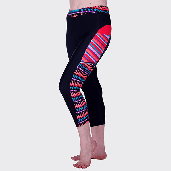 Womens Leggings Capri Pockets Colorful Cute Bright Comfortable UPF50 Rainbow Nation Yoga Run Walk Hike