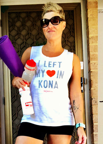 i left my heart in kona muscle tee woman yoga mat sunglasses triathlon