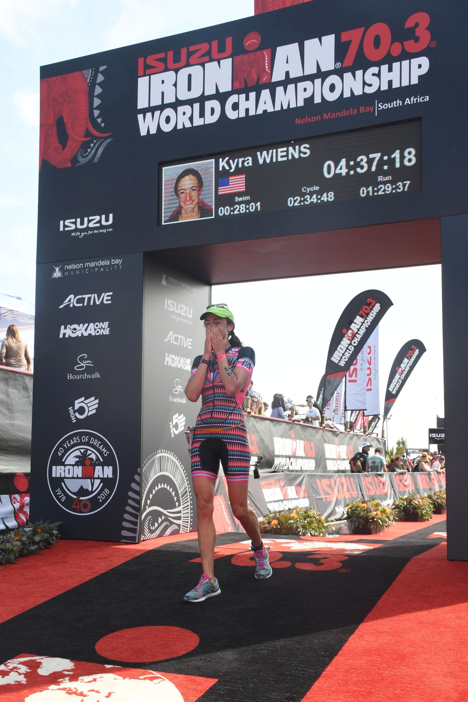 Kyra Wiens Tri Sirena Professional Triathlete World Championships 70.3 South Africa 2018 Rainbow Nation Finish