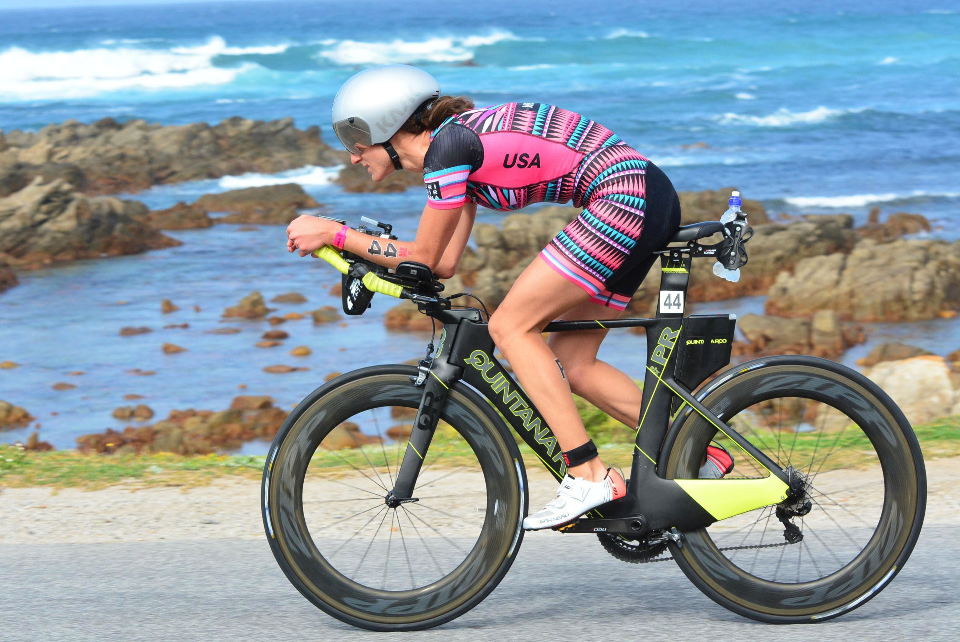 Kyra Wiens Tri Sirena Professional Triathlete Racing World Championships 2018 South Africa Rainbow Nation Aero Skinsuit