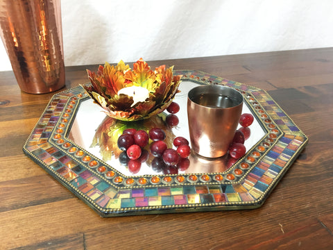 whiskey shot fall cranberries leaves candle