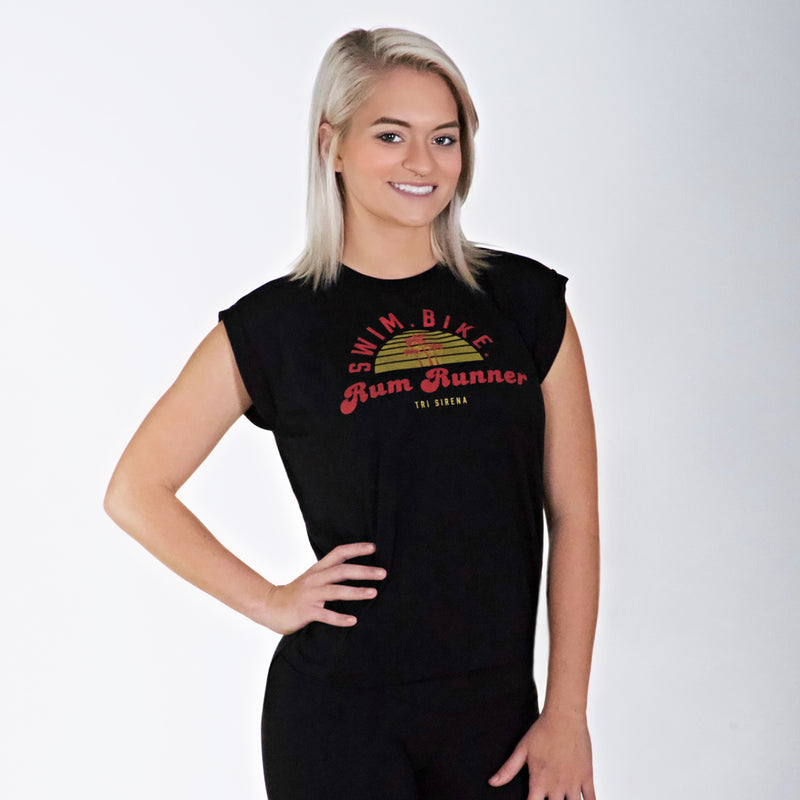 Swim, bike, and enjoy a rum runner in this cute triathlon muscle tee