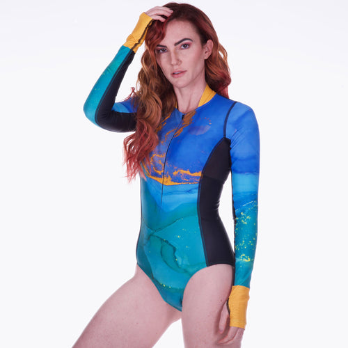 Women's Cute Sexy Long Sleeve One Piece Swimsuit with UPF 50