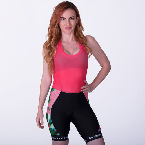 Women's Cycle Bib Shorts with Mesh Halter Top