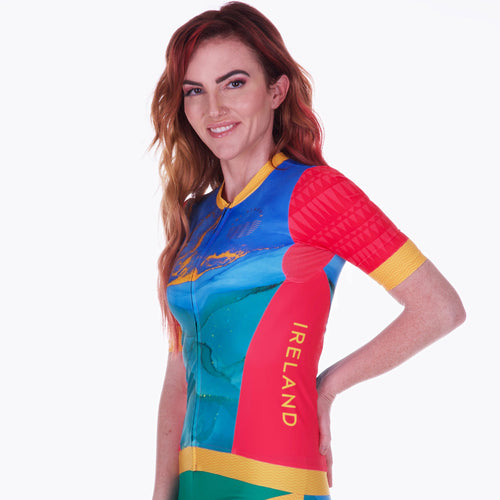 Women's Cute Sexy Sleeved Triathlon Top for Racing and Cycling