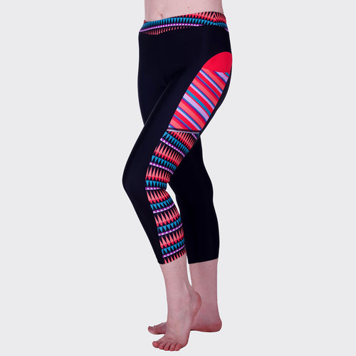 Women's Capri Running Leggings Cute and UPF 50 Sun Protective with Pockets for Running, Cycling, Crossfit, and Gym