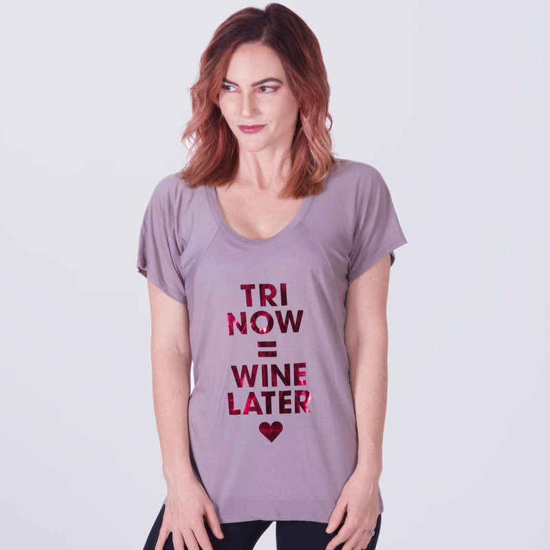 Cute Women's Flowy Tee for Triathletes and Wine Lovers