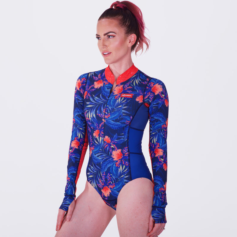 Front Sexy and Bright Women's Chlorine Resistant UPF 50 Sun Protective Long Sleeve Swimsuit