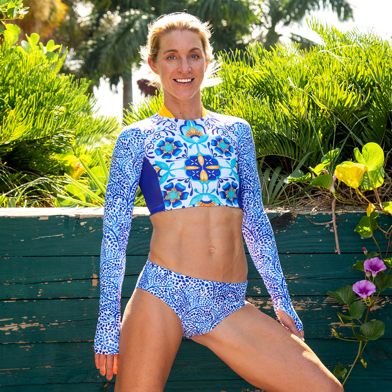 Indigo Ivy UPF 50 Long Sleeve Crop Swim Top