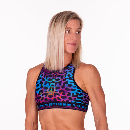 Cosmic Camo UPF 35+ High Neck Sports Bra