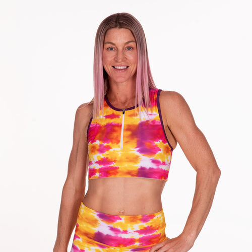 Golden Hour UPF 50 Front-Zip Sports Bra