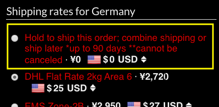 Hold to ship this order option