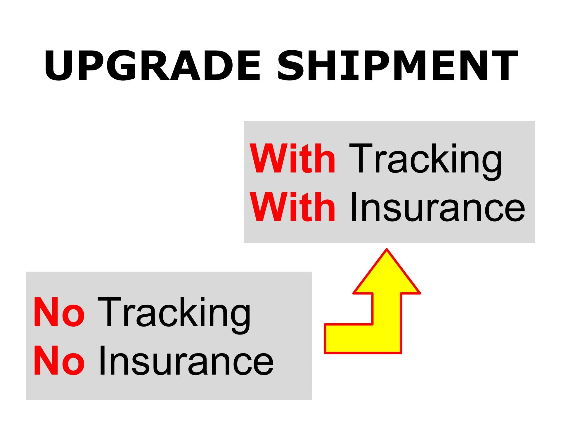 Extra shipping charge to add tracking and insurance