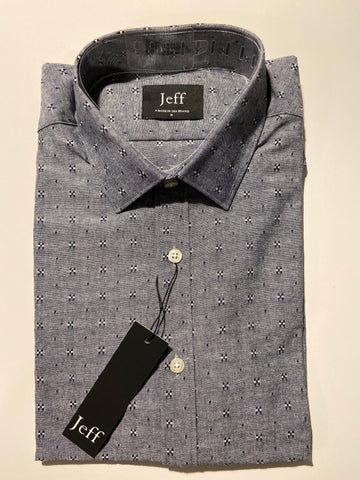 Short sleeve grey novelty shirt.