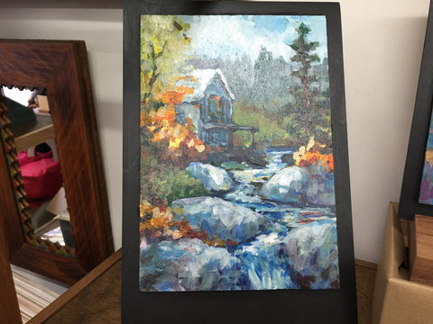 Painting - Cabin Overlooking Rocky River