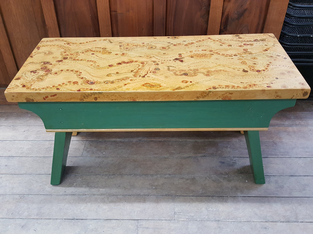 Pine Bench with Painted Top