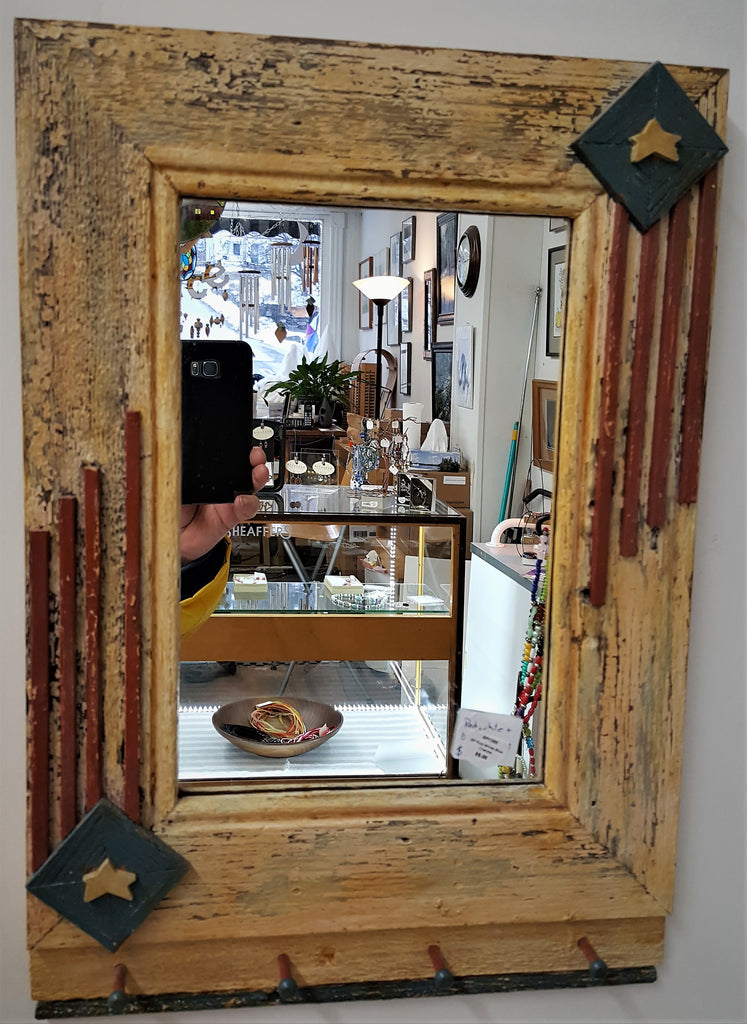 Reclaimed Pine Mirror with Key Pegs