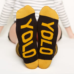 Good Vibes Only socks gift set Yolo bottom front view