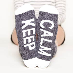 Keep Calm Socks bottom front view