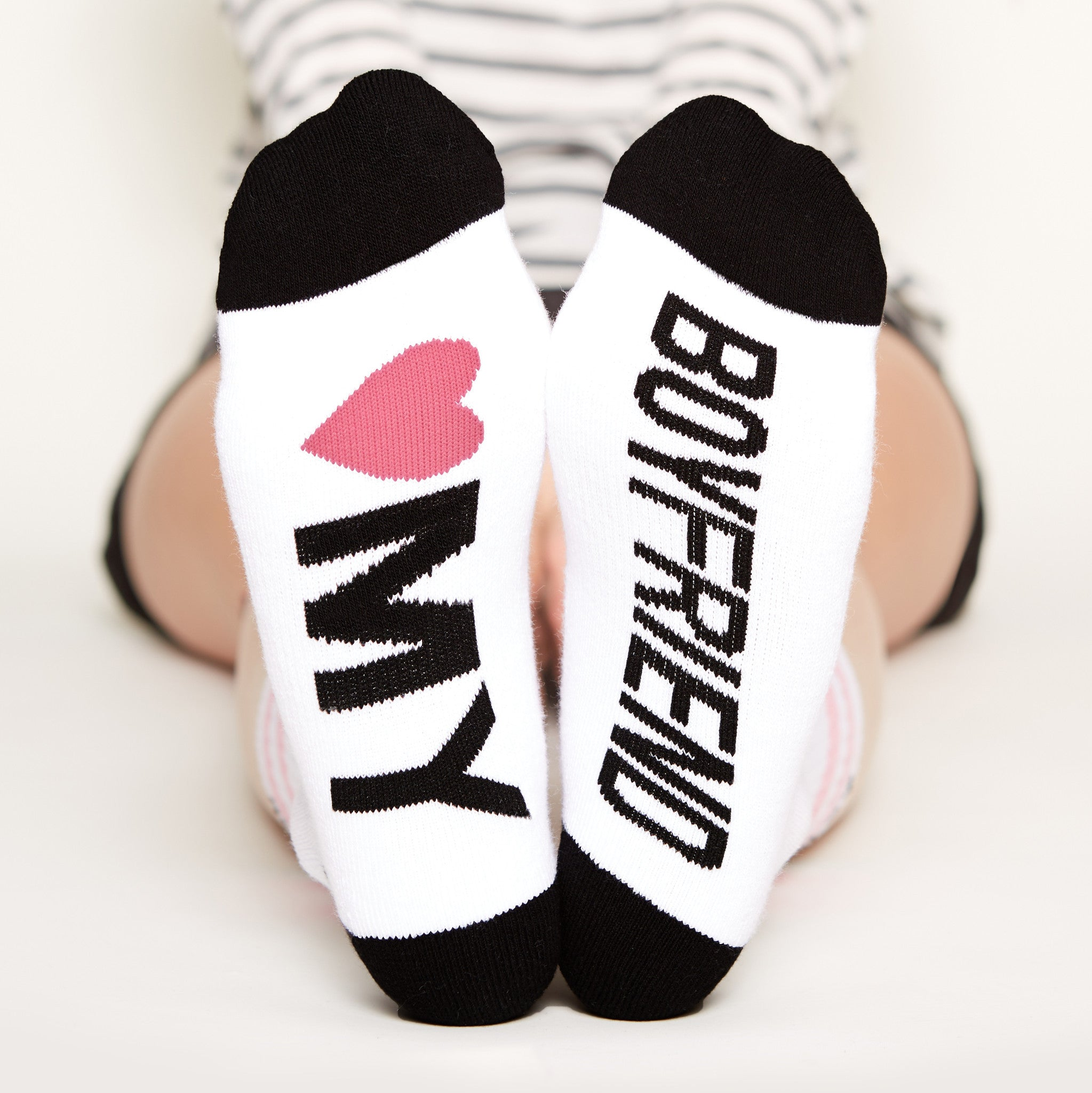I love You socks Gift Set, heart my boyfriend bottom front view