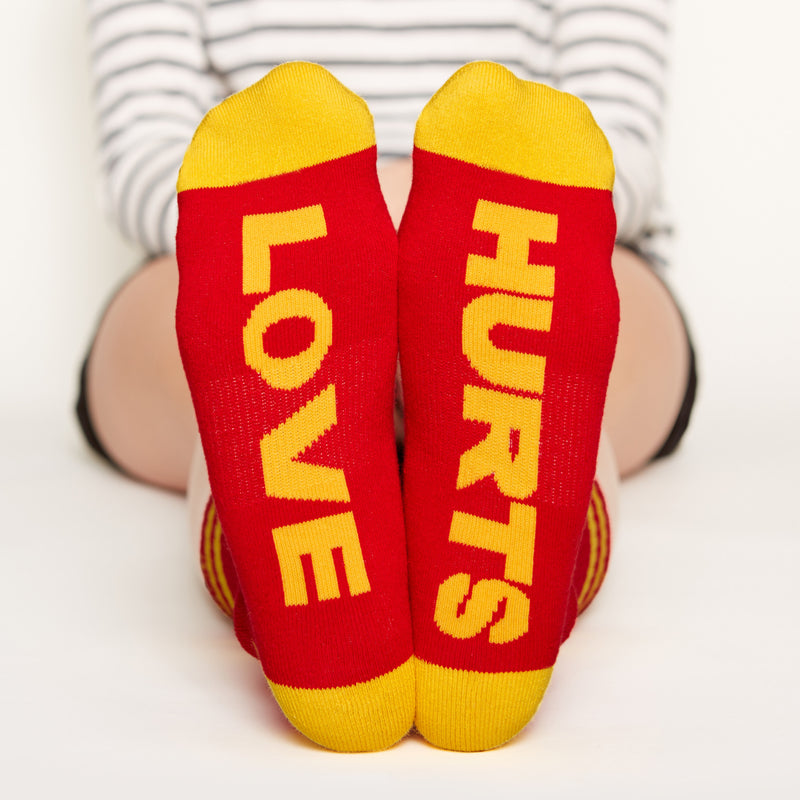 Love Hurts Socks bottom front view