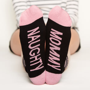 Mommy and Daddy Gift Set socks naughty mommy bottom front view