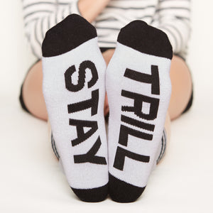 Good Vibes Only socks gift set Stay Trill bottom front view