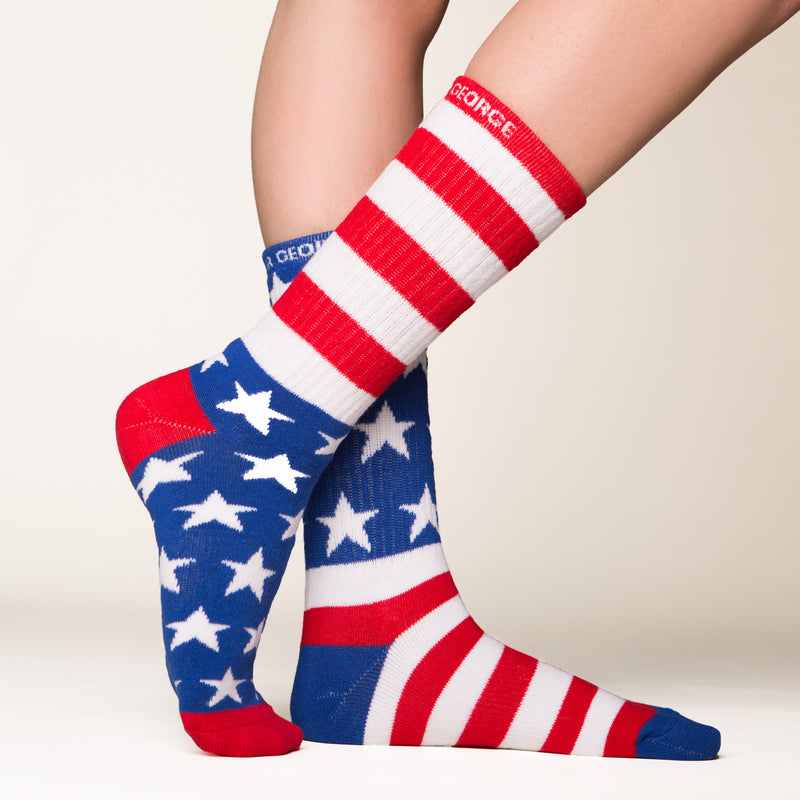 American Flag socks bottom front view