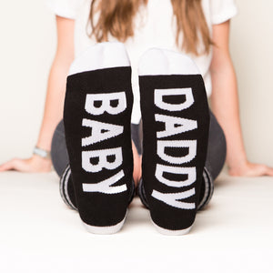 Baby Daddy socks bottom front view