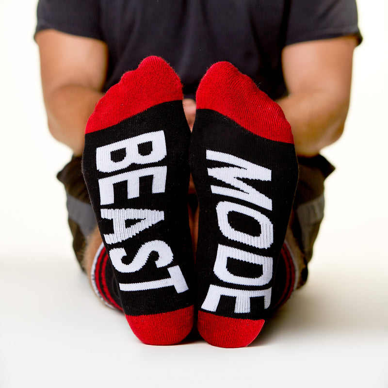Beast Mode socks bottom front view