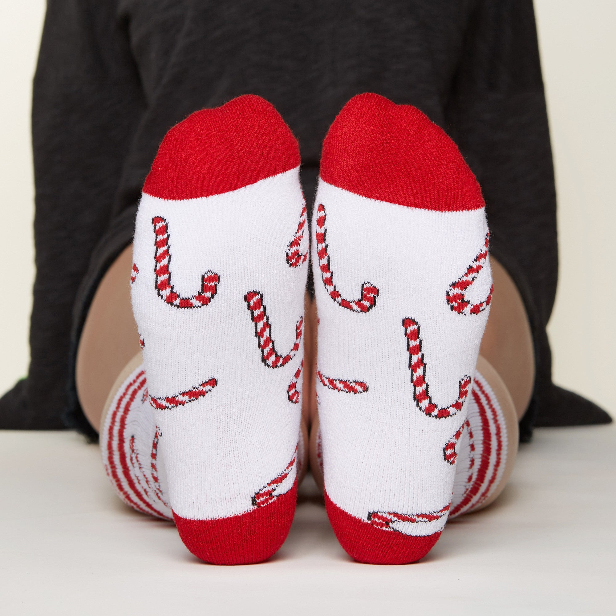 Candy Cane socks bottom front view