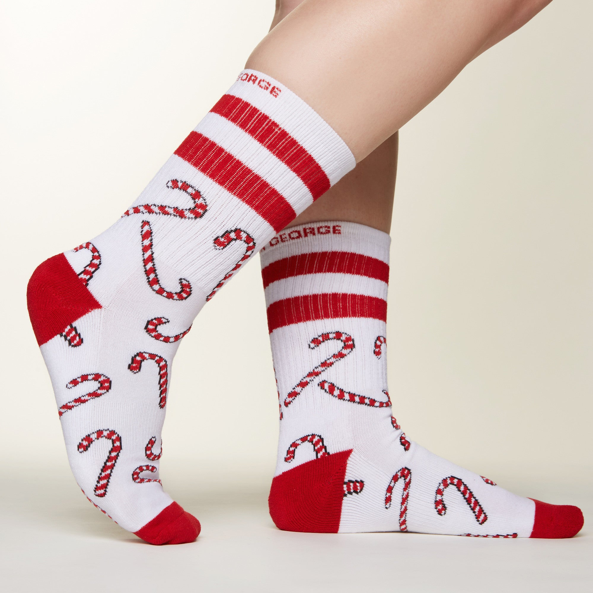 Candy Cane socks side profile view