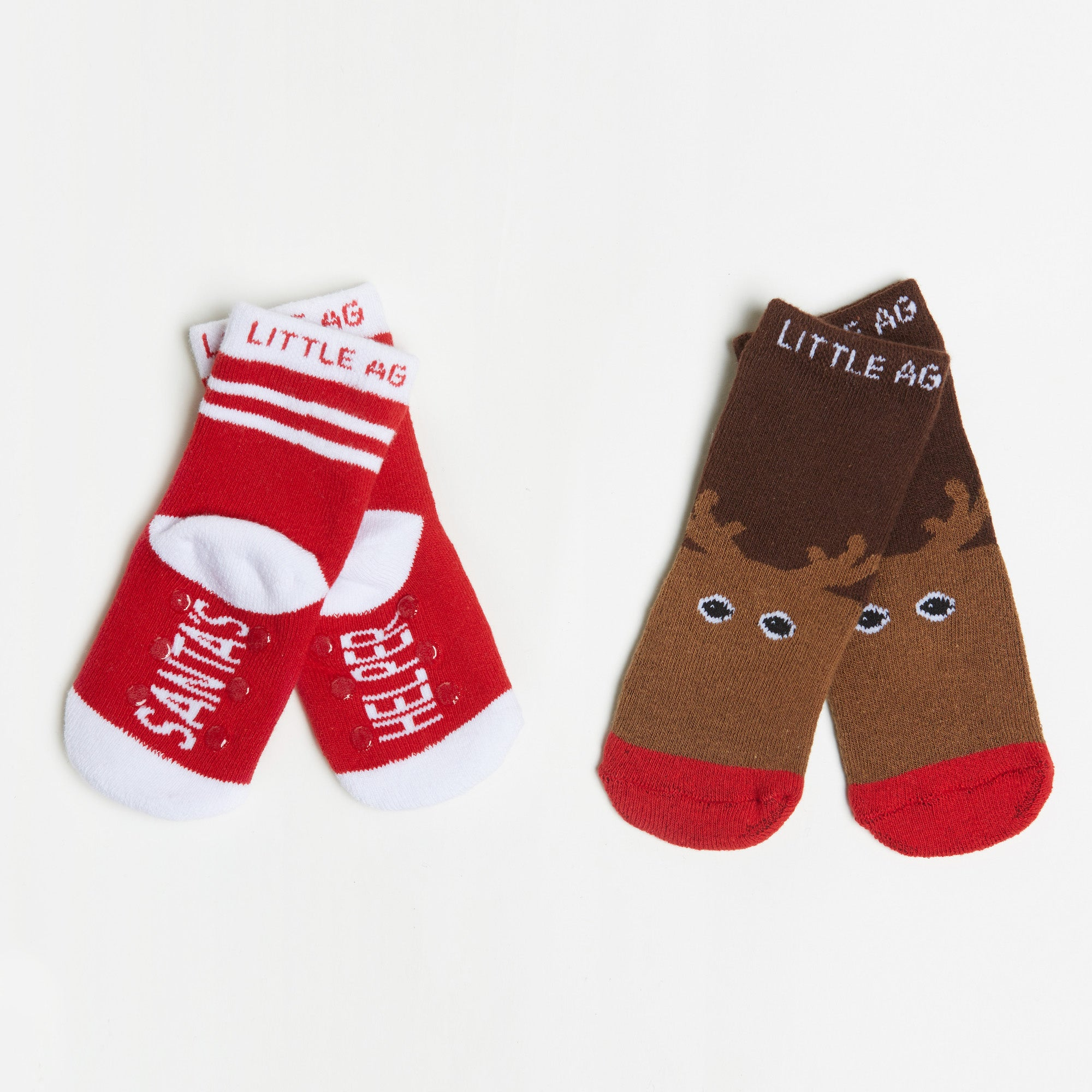 Santa's Helper/Reindeer Kids Socks bottom back view crossed