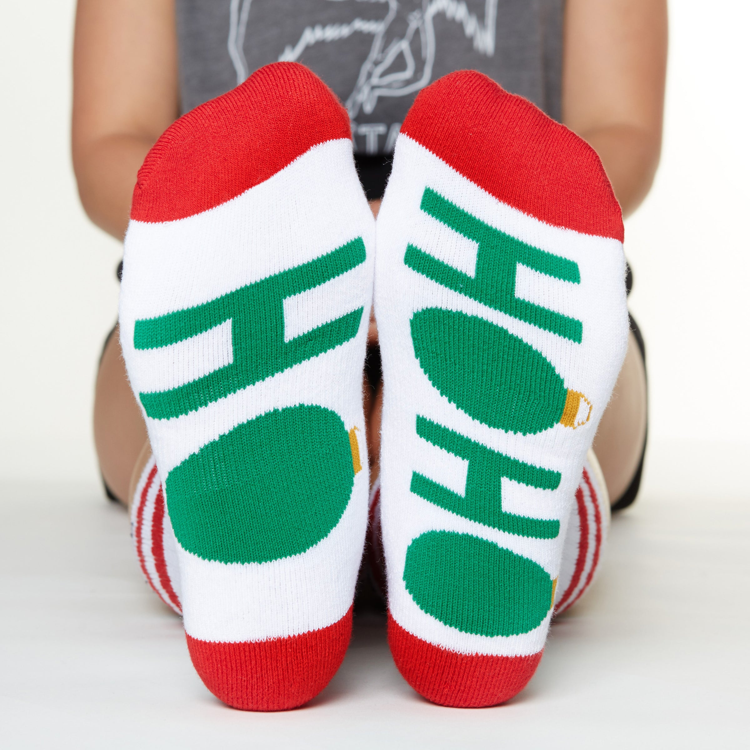 Ho Ho Ho socks bottom front view